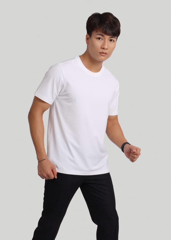 áo thun cổ tròn nam màu trắng