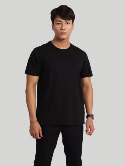 áo thun nam cổ tròn đen